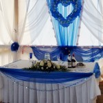 Декор шарами, тканью, цветами